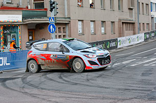 The Hyundai i20 WRC in competition at the Neste Oil Rally Finland.
