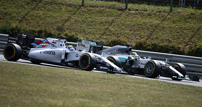 Lewis Hamilton battles Felipe Massa at the 2015 Hungarian Grand Prix.