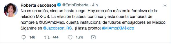 Roberta Jacobson se despide de México: