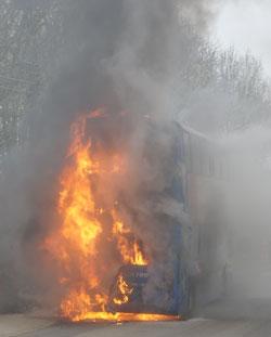 A burning buss