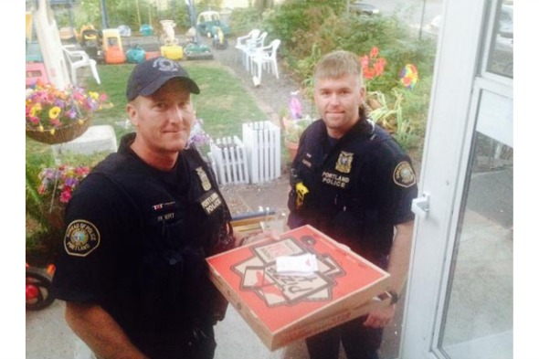police deliver pizza