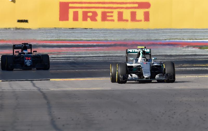 Mercedes AMG Petronas F1 Team's German driver Nico Rosberg (R) wins the Formula One Russian Grand Prix at the Sochi Autodrom circuit on May 1, 2016.