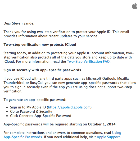 Setting up two-step verification for Apple ID and iCloud