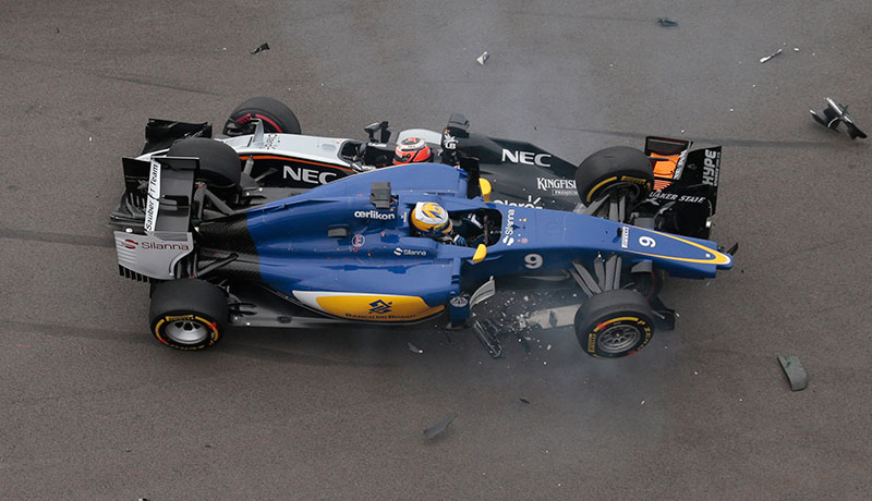 Force India driver Nico Hulkenberg and Sauber Marcus Ericsson collide on the first lap of the 2015 Russian Grand Prix.
