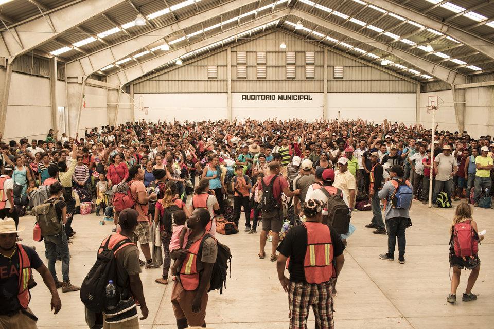 Un grupo de refugiados y solicitantes de asilo centroamericanos, liderado por el colectivo Pueblo Sin...