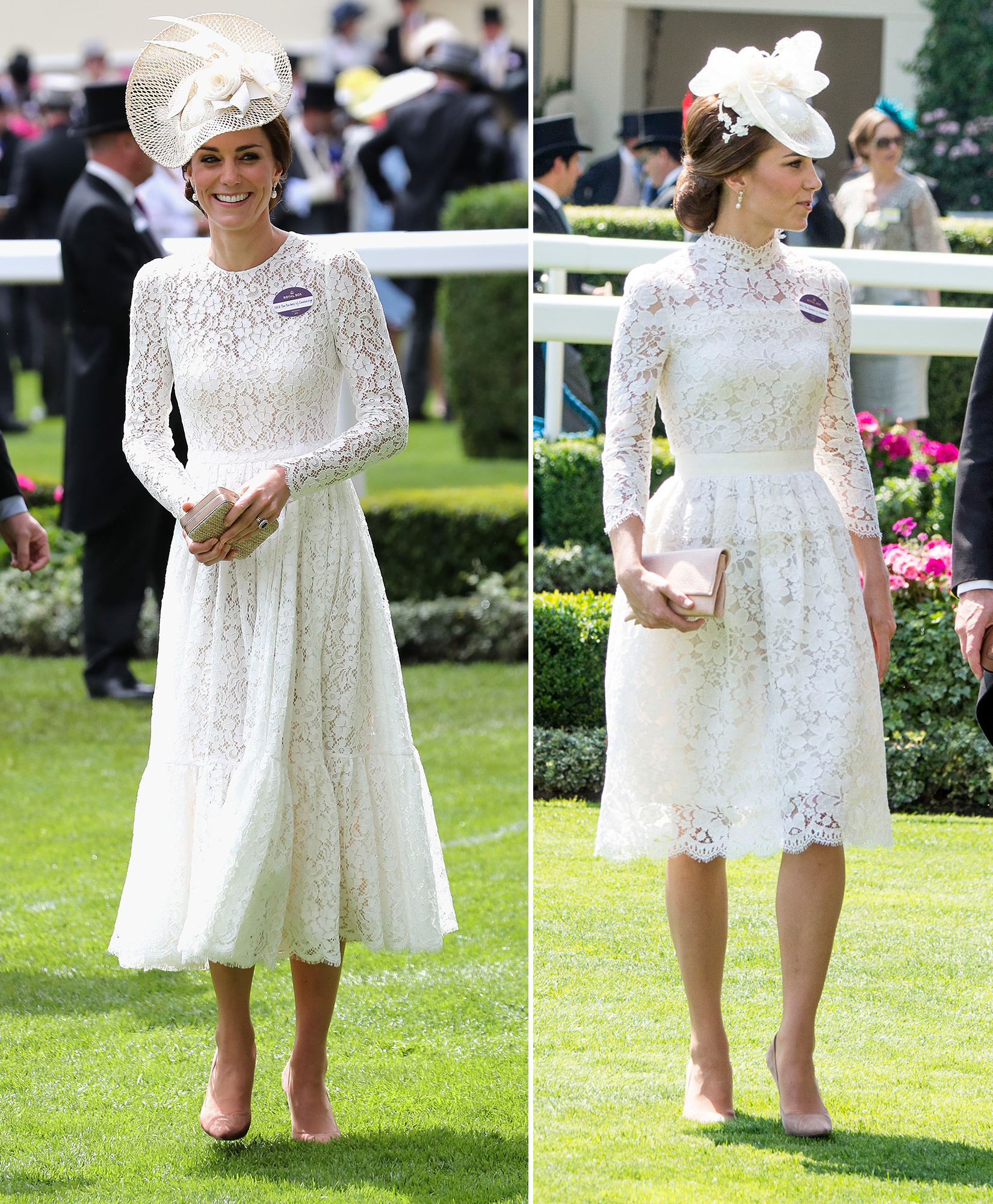 Duchess of Cambridge at royal ascot in white lace