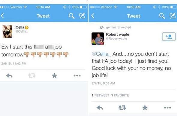 The tweets from Cella and Robert Waple