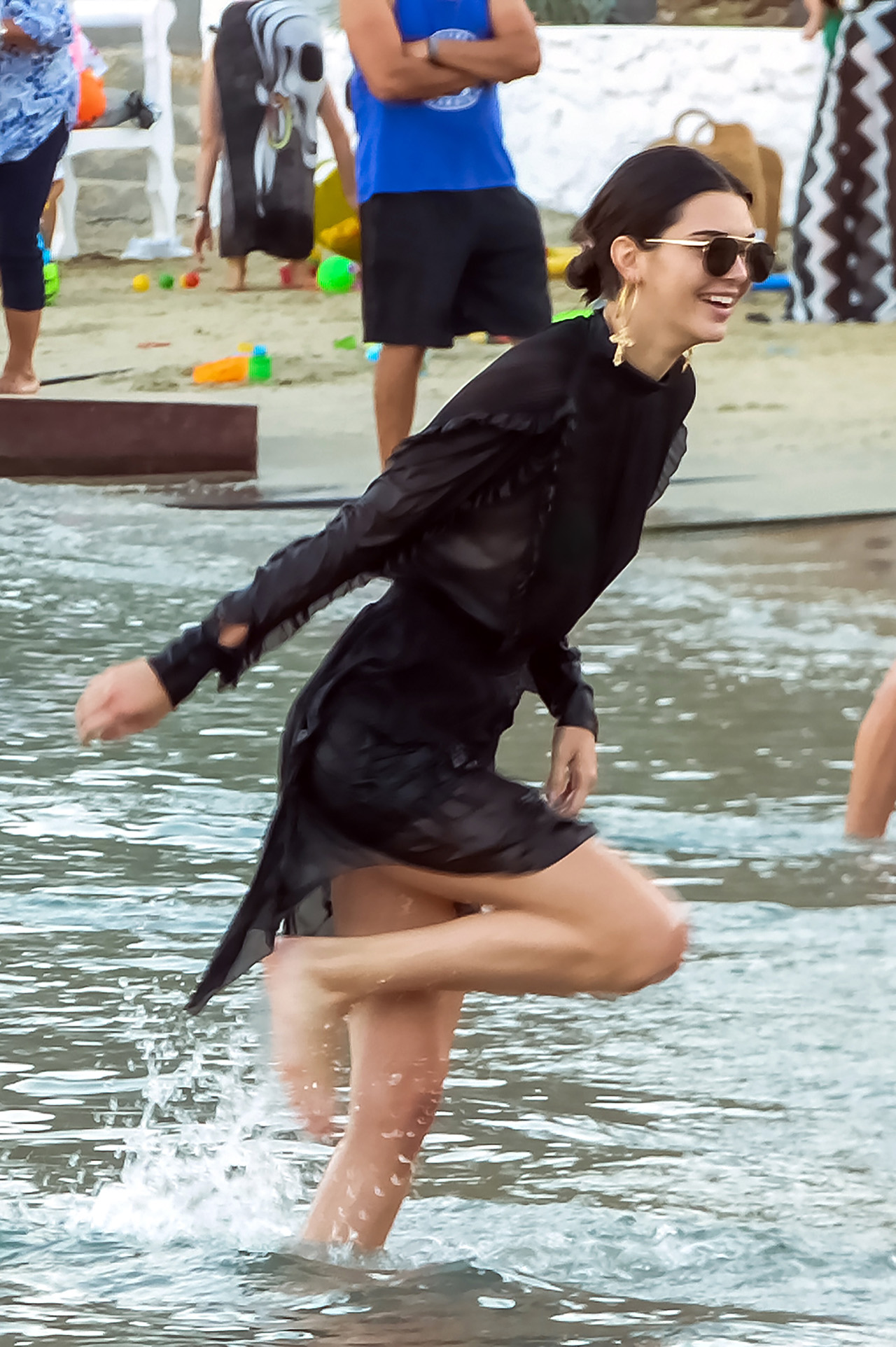Kendall Jenner seen at a party with Bella Hadid and other friends on Nammos Beach, Mykonos Island. 09 Jul 2017 Pictured: Kendall Jenner. Photo credit: MEGA TheMegaAgency.com +1 888 505 6342 (Mega Agency TagID: MEGA52718_003.jpg) [Photo via Mega Agency]