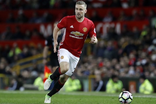 Manchester United's Luke Shaw during the Premier League match at Old Trafford, Manchester.
