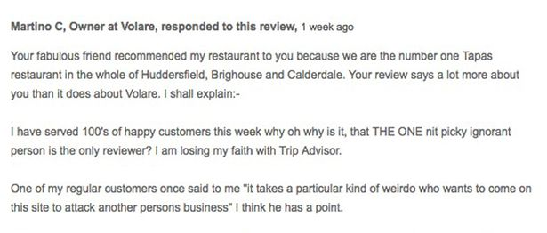 Tapas bar owner hits back at customer after negative review