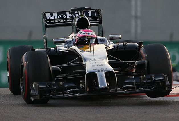 Jenson Button drives during the 2014 Abu Dhabi F1 Grand Prix.