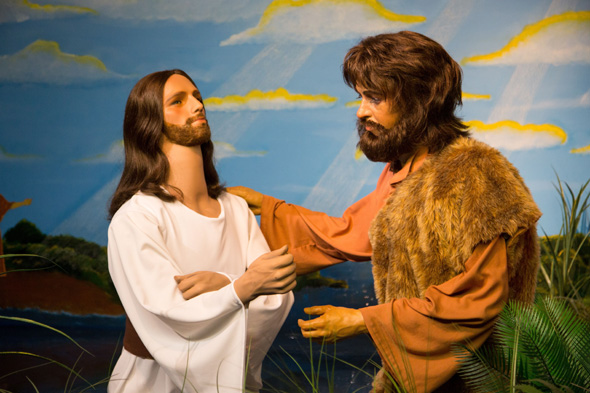 "Mandatory Credit: Photo by Solent News/REX Shutterstock (4962646c) Tom Cruise as Jesus Discarded waxworks of famous people at the BibleWalk museum, Ohio, America - 13 Aug 2015 *Full story: http://www.rexfeatures.com/nanolink/qtge A life-size model of Prince Philip in the perhaps unlikely guise of an angel is the centrepiece of a bizarre biblical museum made up of discarded waxworks of celebrities from across the globe. Prince Charles is also a star attraction at the museum which gets up to 40,000 visitors a year. He has been transformed into Abel - the son of Adam and Eve - complete with 'pudding bowl' haircut. It features over 300 figures rescued from closed or failing waxwork museums. The wax models have been acquired by the BibleWalk museum in Mansfield in Ohio, USA, ever since it was founded in August 1983. It is billed as the only place on earth where you can see the gaffe-prone Duke of Edinburgh and celebrities such as film stars Tom Cruise and John Travolta ""re-imagined"" as notable biblical figures. While the origins of many of the waxworks remains a closely-guarded secret, characters in the Last Supper scene were obtained from a museum 750 miles away in Arkansas."