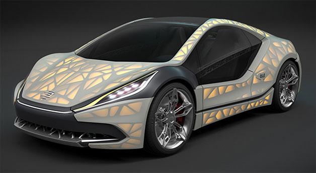バックライトでボディに模様が浮かび上がる! 独EDAGが3Dプリンタで作った軽量カーを公開へ