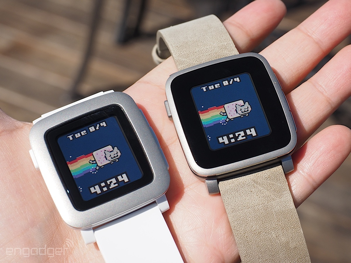 A Pebble Time next to a Pebble Time Steel