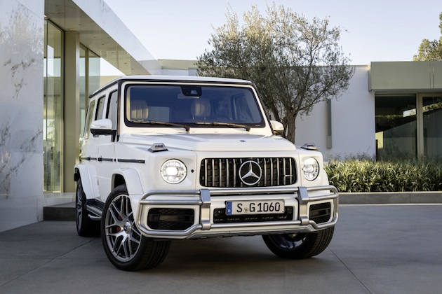 Mercedes-AMG G 63. Exterieur: designo mysticweiß bright, Exterieur-Edelstahl-Paket, AMG Stoßfänger nicht in allen Märkten verfügbar.;Kraftstoffverbrauch kombiniert: 13,2 l/100km; CO2-Emissionen kombiniert: 299 g/km*  Mercedes-AMG G 63. Exterior: designo mysticwhite bright, Exterior-Stainless steel-Packet, AMG front bumper not in all markets available;Fuel consumption combined: 13,2 l/100km; CO2-emissions combined: 299 g/km*