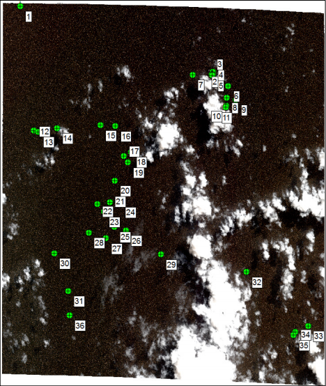 What looks like a bunch of dots is satellite image PHR_4. There are 36 objects in this frame, 9 of which...