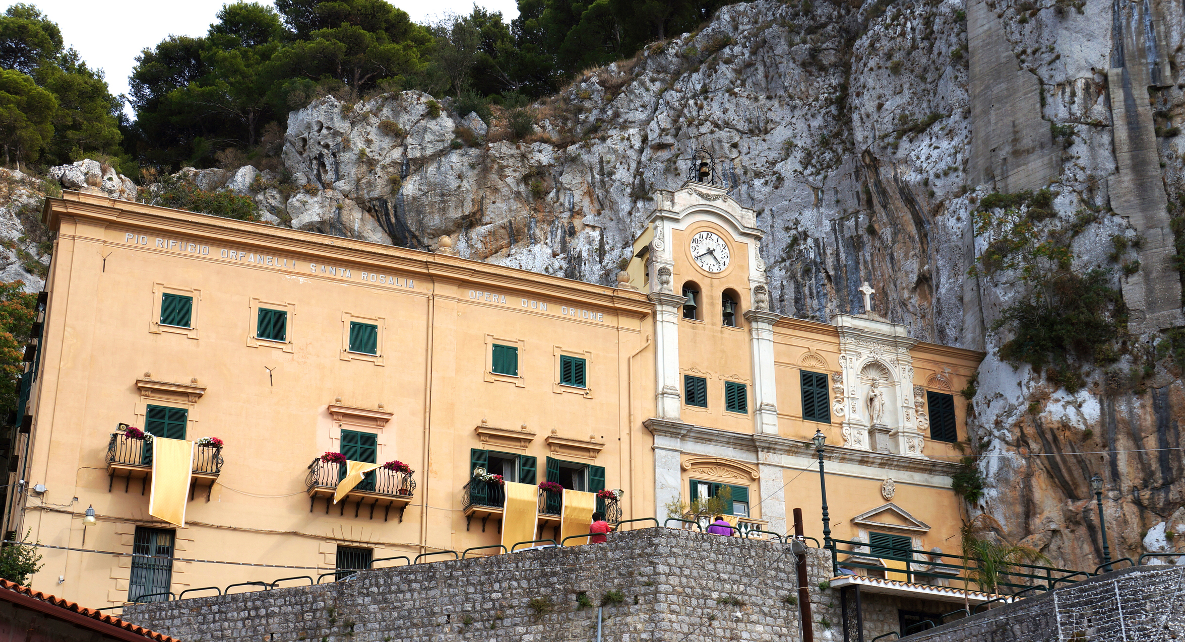 External view of the Saint Rosalia sanctuary in the mount Pellegrino of Palermo in