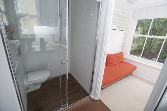 Tiny maids' cupboard turned into studio flat