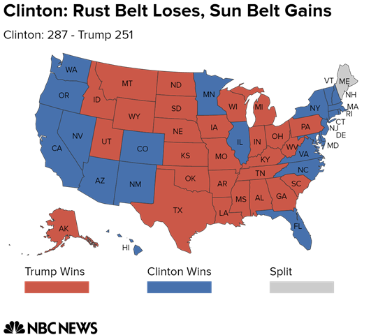 Rust Belt States Map.Electoral College Map Potential Paths To Victory For Clinton And