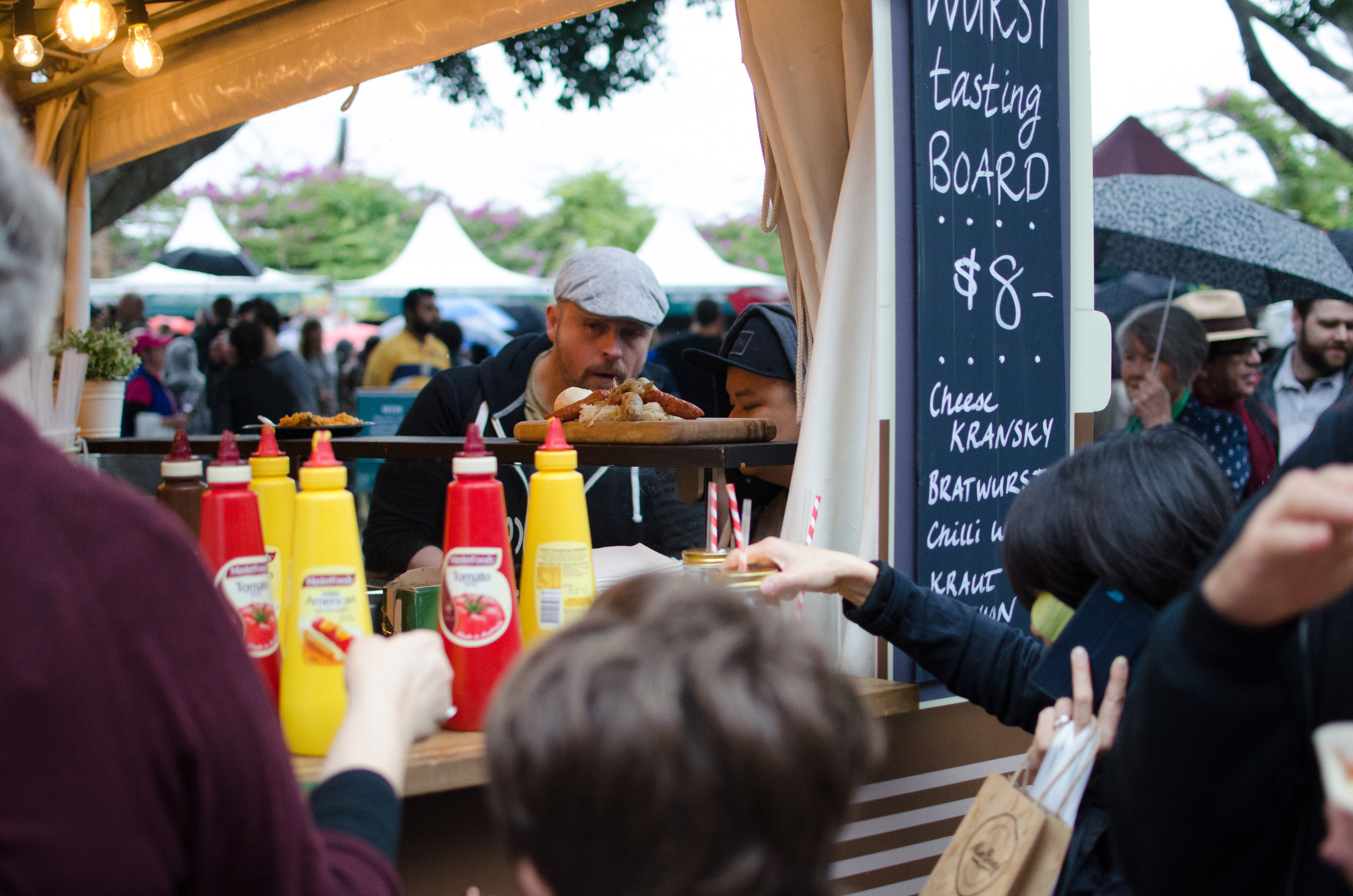 This German sausage stall boasted long lines all weekend