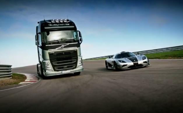 【ビデオ】ボルボの大型トラックと1360psのスーパーカー「アゲーラ One:1」が対決!