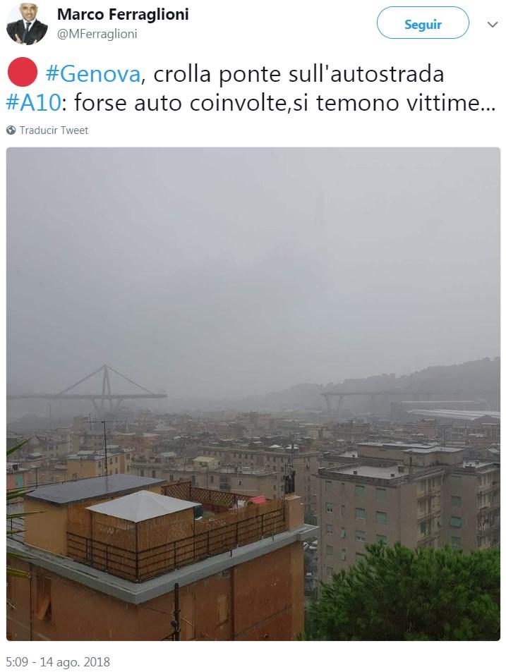 """""""#Genova, el puente de la autopista derrumbado # A10: quizás haya automóviles involucrados, se teme"""
