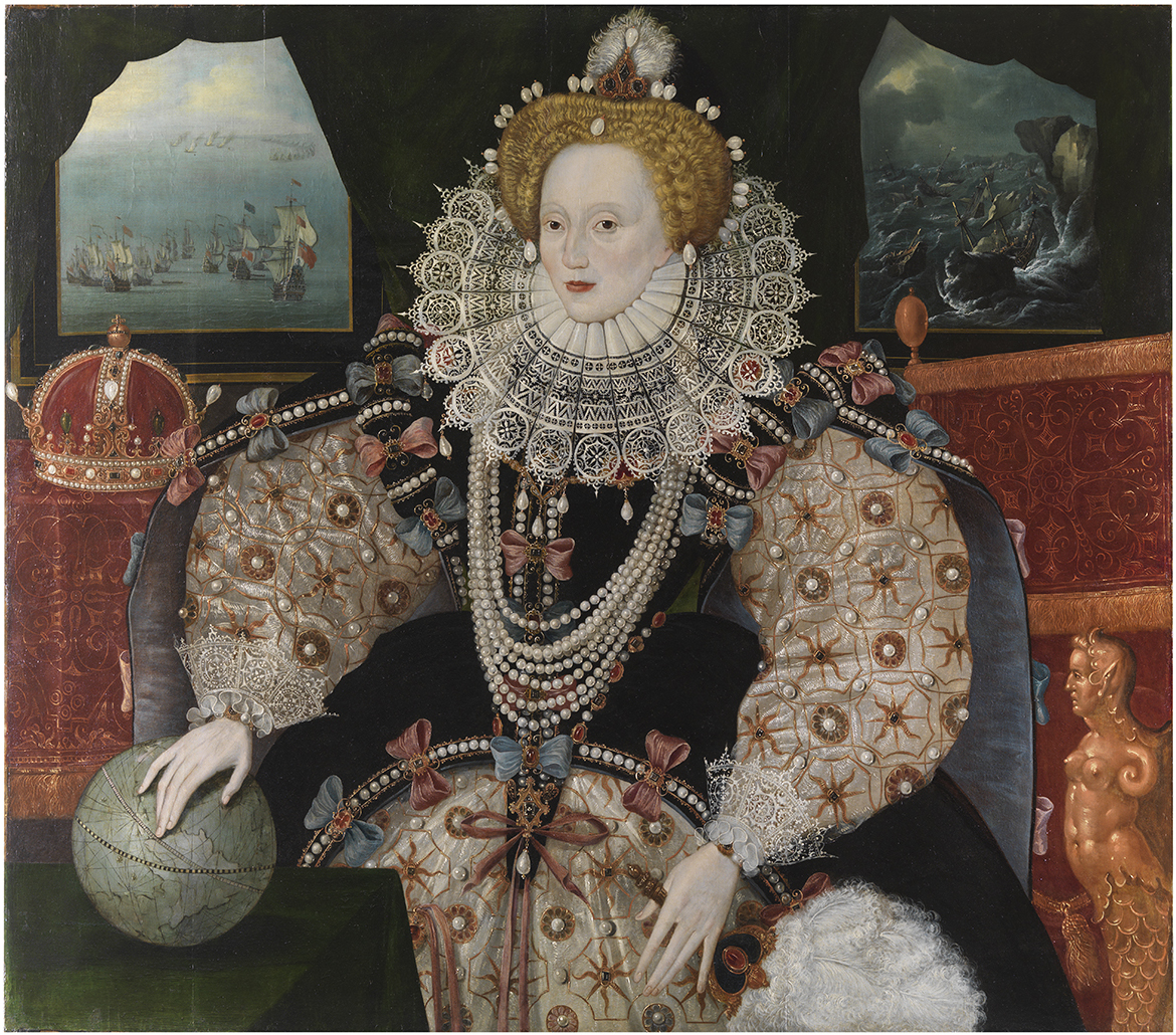ZBA7719; Portrait of Elizabeth 1st - Armada Portrait, after conservation has been completed.