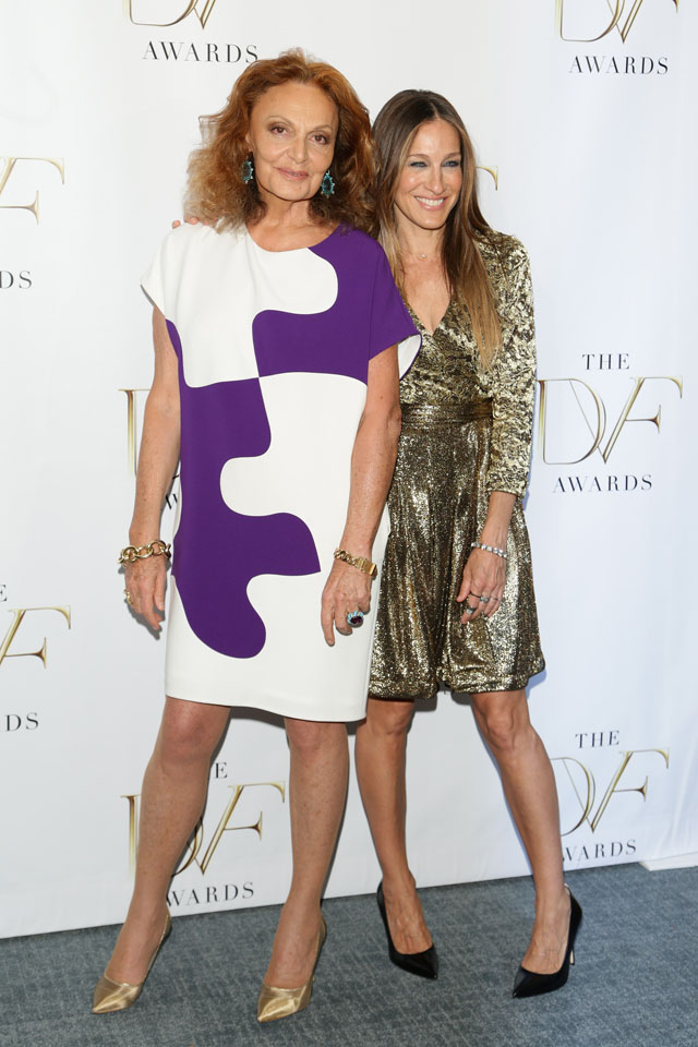 NEW YORK, NY - APRIL 04:  Diane von Furstenberg (L) and Sarah Jessica Parker attend the 2014 DVF Awards on April 4, 2014 in New York City.  (Photo by Andrew Toth/Getty Images)