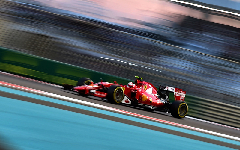 Kimi Raikkonen drives in the 2015 Abu Dhabi F1 Grand Prix.