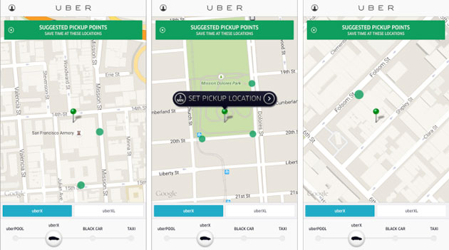 Uber's suggested pickups