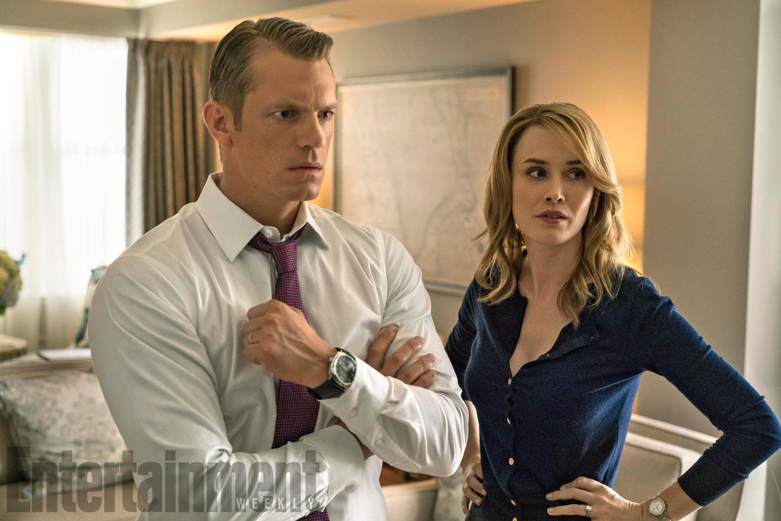House Of Cards Season 5Pictured from left:  Joel Kinnaman as Will Conway, Dominique McElligot as Hannah Conway