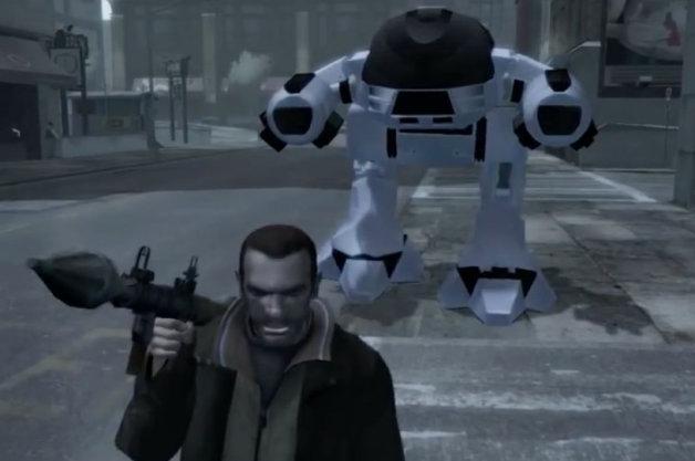 【ビデオ】『ロボコップ』の「ED-209」が『グランド・セフト・オートⅣ』の世界に乱入!?