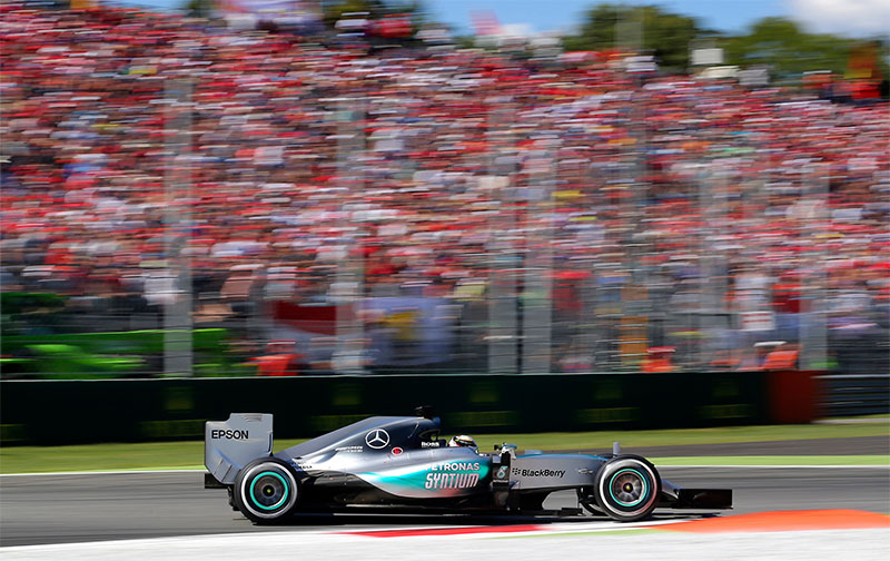 Lewis Hamilton drives during the 2015 Italian F1 Grand Prix.