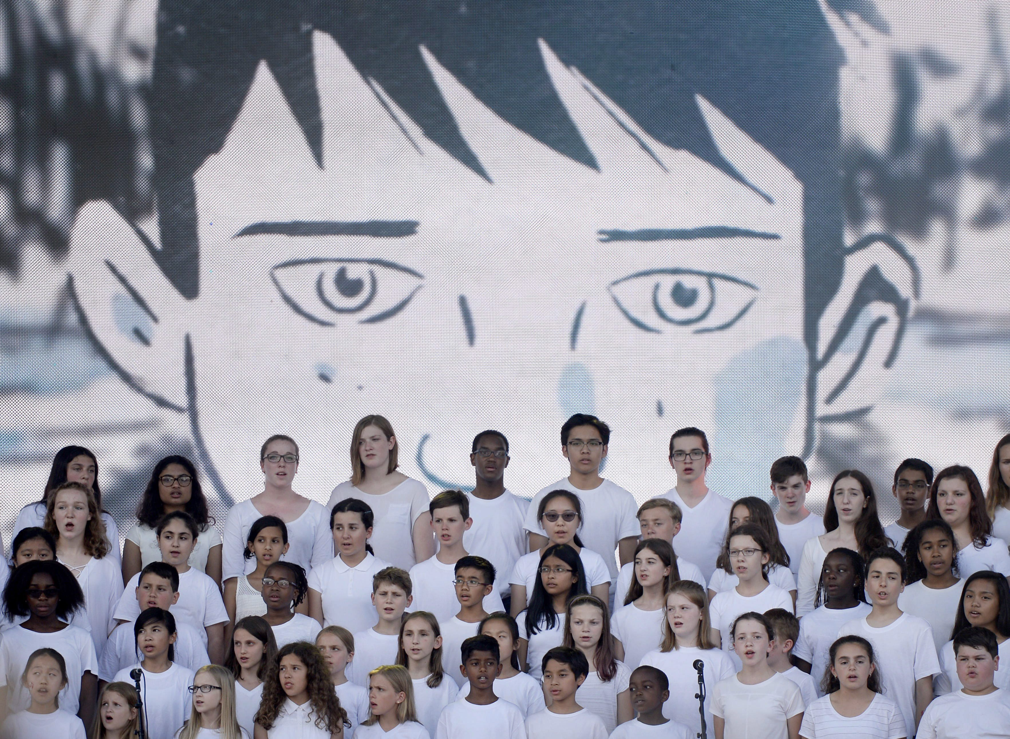 The Ottawa Children's Choir performs Tragically Hip frontman Gord Downie's song The Stranger at We Day...