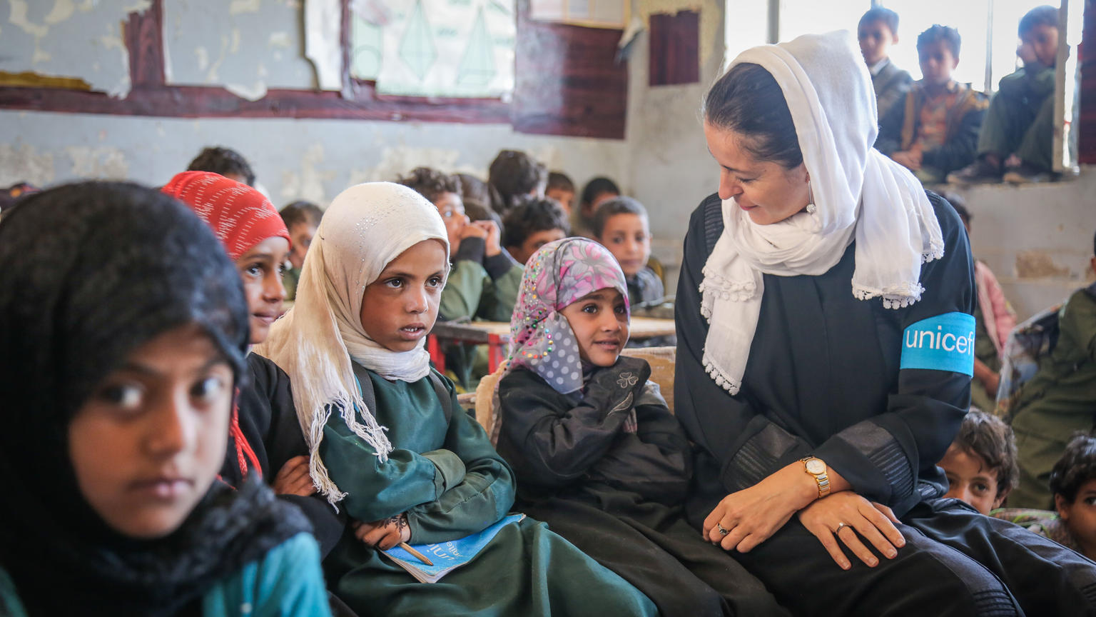 On 27 March 2018 in the Aldailami School, Belad Alroos district, Sana'a, Yemen, UNICEF Representative...