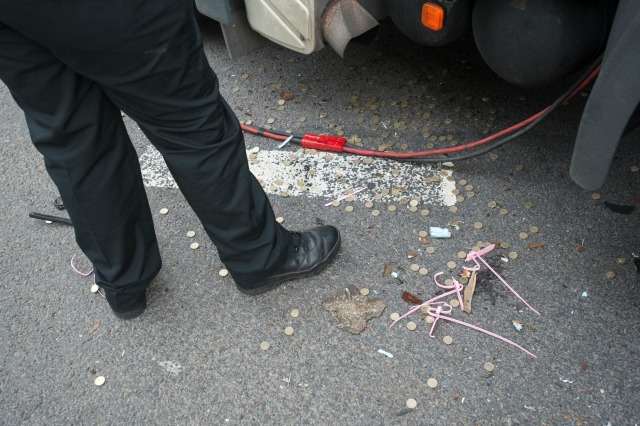 Coins spilled from lorry