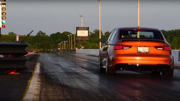 【ビデオ】アウディ「RS3」のチューンドカーが、1/4マイル(402m)をダッジ・デーモンに迫る9秒台で走り切る!