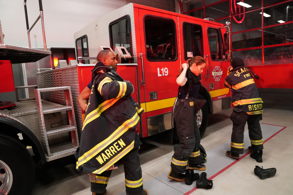 """GREY'S ANATOMY SPINOFF - The latest series from the Executive Producers of """"Grey�s Anatomy,"""" """"Scandal"""" and """"How to Get Away with Murder"""" follows a group of heroic firefighters at Seattle Fire Station 19 - from captain to newest recruit - as they risk their lives and their hearts both in the line of duty and off the clock. These brave men and women are like family, literally and figuratively, and together they put their own lives in jeopardy as first responders to save the lives of others.(ABC/Mitch Haaseth) JASON GEORGE, JAINA LEE ORTIZ"""