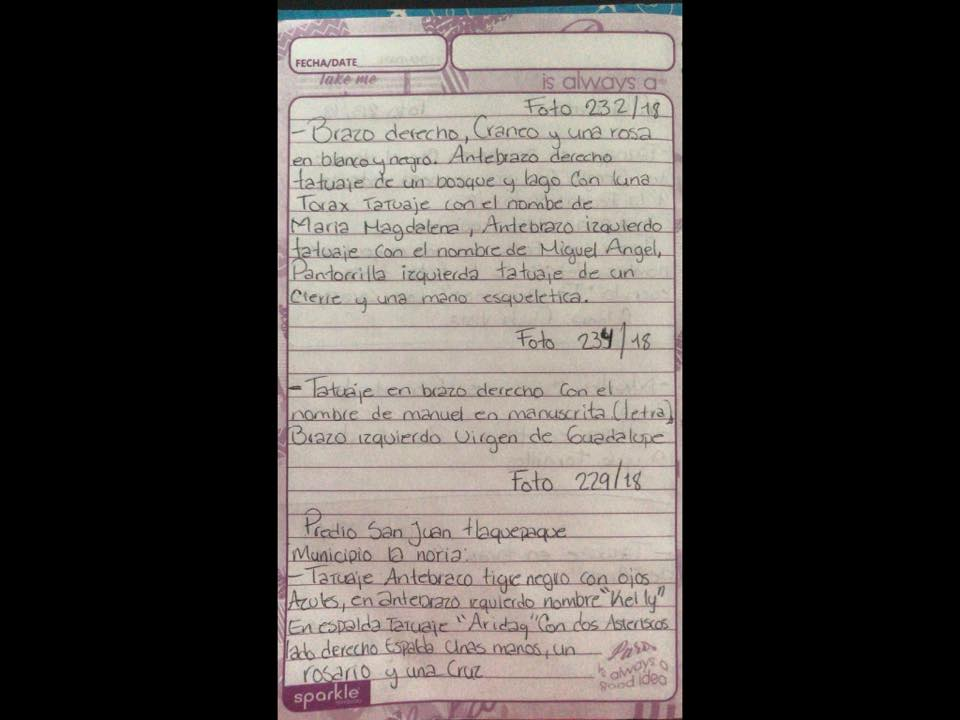 Hasta abajo de la hoja, alguien anotó las características físicas de Francisco Javier, desaparecido en...