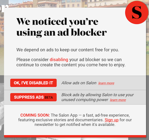 Salon asks readers to pick their poison: ads or crypto mining