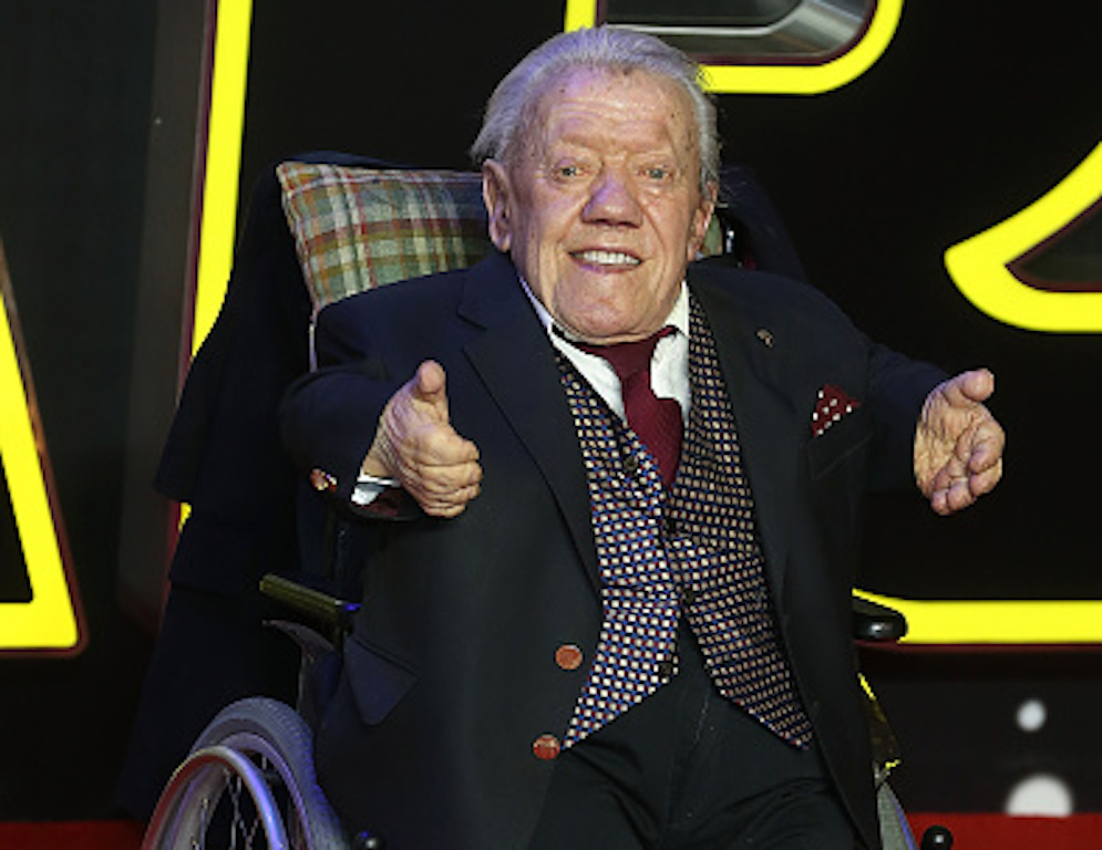 "LONDON, ENGLAND - DECEMBER 16:  Kenny Baker attends the European Premiere of ""Star Wars"" The Force Awakens at Leicester Square on December 16, 2015 in London, England.  (Photo by Fred Duval/FilmMagic)"