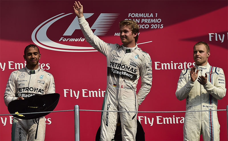 The podium at the 2015 Mexican F1 Grand Prix.