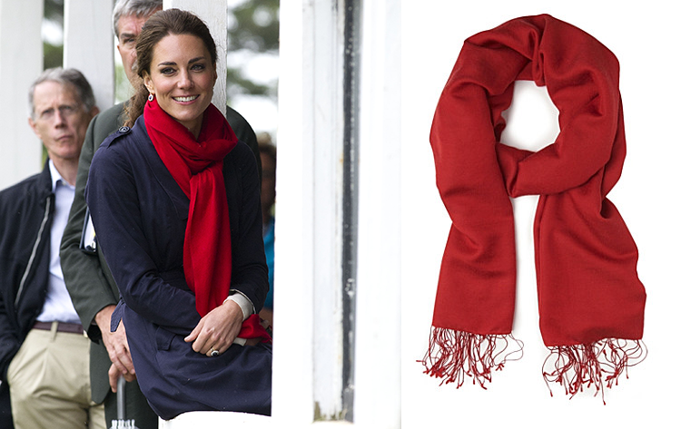 Kate Middleton red Hugo Boss scarf