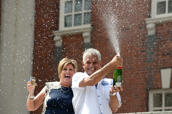 Mandatory Credit: Photo by David Bagnall/REX Shutterstock (4900586f) Dawn and Malcolm Bosworth Couple win �5,872,705 on the Lottery, Tamworth, Britain - 10 Jul 2015 Lottery winners Dawn and Malcolm Bosworth from Tamworth celebrate their �5,872,705 Lottery win. The couple were none the wiser about their win until Tuesday as they were on holiday in Egypt and couldn't open an email from lottery organisers Camelot