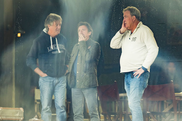 (left to right) James May, Richard Hammond and Jeremy Clarkson on the set of The Grand Tour in Whitby.