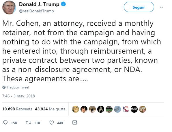 Trump admite que su dinero intentó comprar el silencio de Stormy