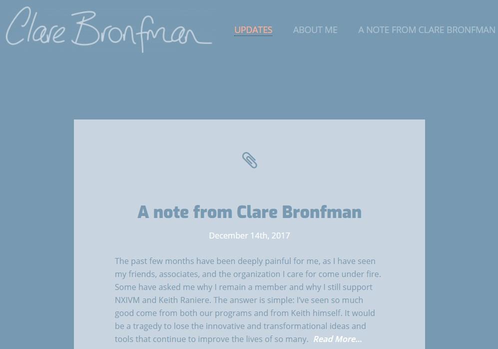 Mensaje en la página personal de Bronfman en las que explica por qué siguió apoyando a Raniere a pesar...