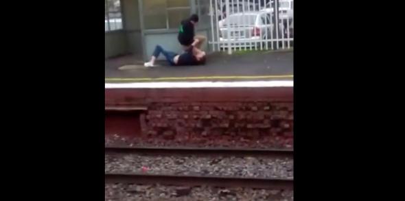 Good Samaritan stops man from jumping into path of oncoming train