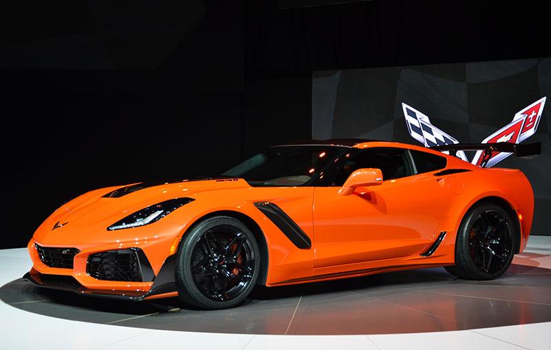 The 2019 Corvette ZR1 coupe, front three-quarter view.