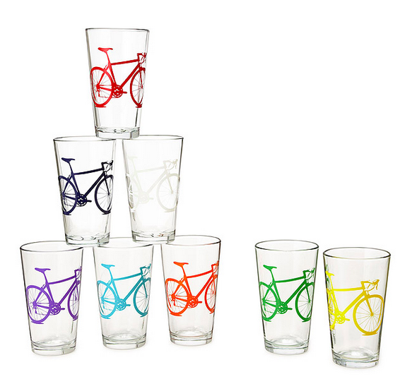 bicycle printed water glasses
